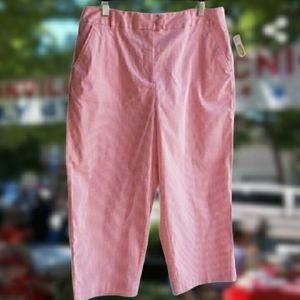 New TALBOTS Pink Pinstripe Stretch Capri Slacks
